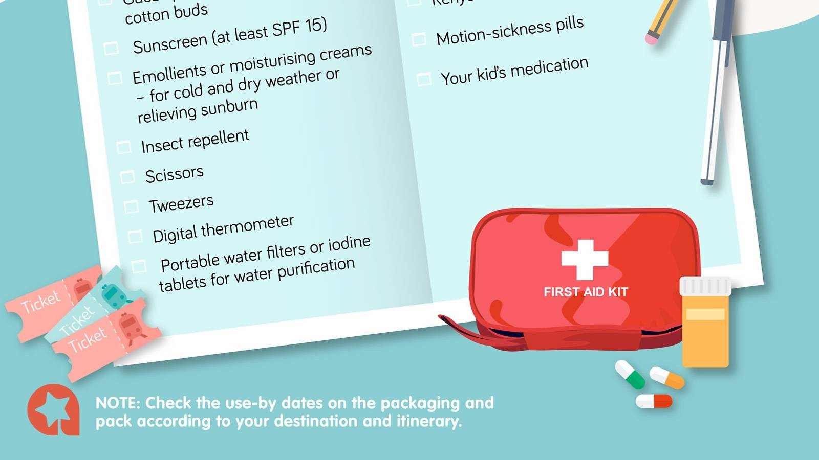 Kids — Travel first aid — Checklist of must-have meds-2a
