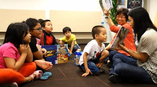 Enthusiastic young readers at the launch of The Little Singapore Book.